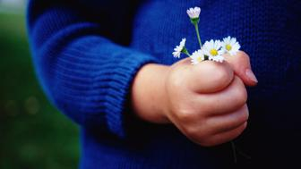 Child Holding Daisies