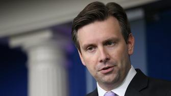 WASHINGTON, DC - JULY 08:  White House Press Secretary Josh Earnest holds the daily news briefing at the White House July 8, 2015 in Washington, DC. Earnest said that President Barack Obama had been briefed by Homeland Security Advisor Lisa Monaco and Chief of Staff Denis McDonough about the New York Stock Exchange shut down.  (Photo by Chip Somodevilla/Getty Images)
