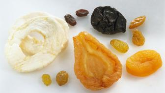 Various dried fruits, close-up, elevated view