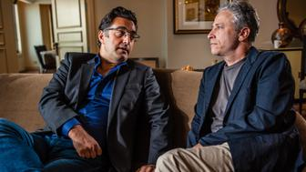WASHINGTON, DC -- NOVEMBER 09: Jon Stewart, right,  and Maziar Bahari profiled for Stewart's directorial debut film, 'Rosewater', which is based on Bahari's journalism in Iran which got him arrested and tortured.. (photo by Andre Chung for The Washington Post via Getty Images)