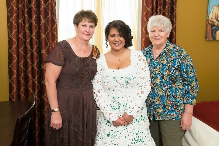 The bride with her mother (on the left) and her Aunt Jennifer (on the right).