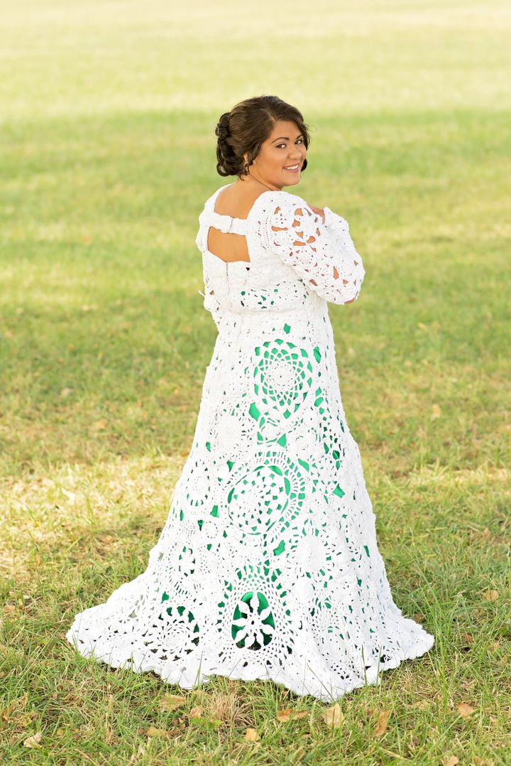 Bride And Her Aunt Spent 8 Months Crocheting A One Of Kind Wedding Dress