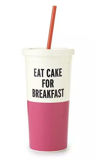"""Get the <a href=""""https://www.katespade.com/products/eat-cake-for-breakfast-insulated-tumbler/154965.html?cgid=katespade-root&"""