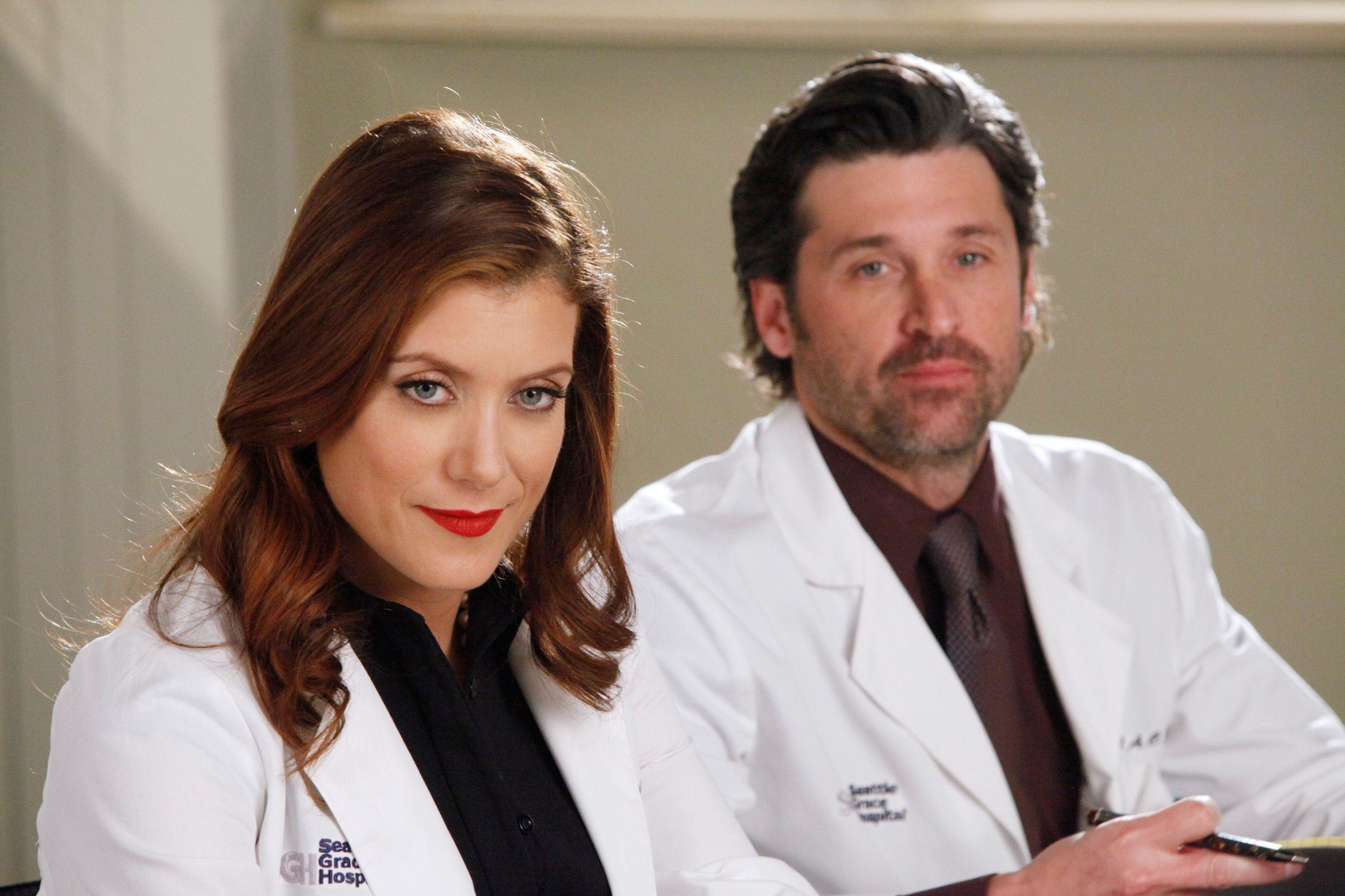 GREY'S ANATOMY - 'If/Then' - As Meredith puts Zola to bed and falls asleep, she begins to wonder -- what if her mother had never had Alzheimer's and she'd had loving, supportive parents? The reverberations of a happy Meredith Grey change the world of Seattle Grace as we know it. What if she had never met Derek in that bar and he had never separated from Addison? What if Callie and Owen had become a couple long before she met Arizona? And what if Bailey never evolved from the meek intern she once was? 'Grey's Anatomy' airs THURSDAY, FEBRUARY 2 (9:00-10:02 p.m., ET) on the ABC Television Network. (Photo by Vivian Zink/ABC via Getty Images) KATE WALSH, PATRICK DEMPSEY