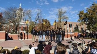 COLUMBIA, MO - NOVEMBER 9: Members of the Concerned Student 1950 movement speak to the crowd of students on the campus of University of Missouri - Columbia on November 9, 2015 in Columbia, Missouri. Students celebrate the resignation of University of Missouri System President Tim Wolfe amid allegations of racism. (Photo by Michael B. Thomas/Getty Images)