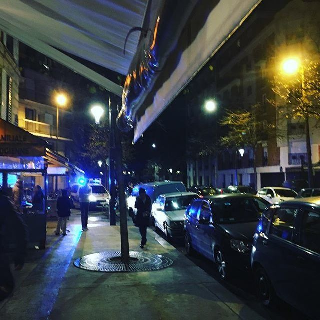 The scene outside the restaurant Philou, close to where shots were heard in Paris, France on November 13, 2015.
