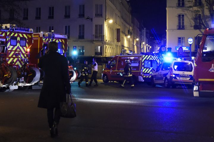 A Parisian street Friday night after multiple attacks across the city.