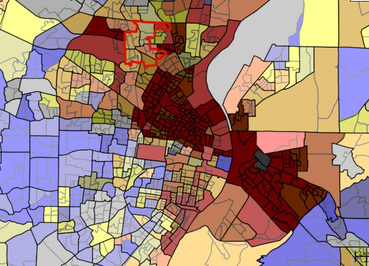 An interactive map showing racial segregation in the greater St. Louis area. The darker the red color, the higher the percent