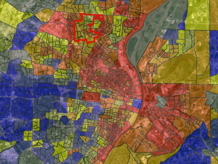 An interactive map showing socioeconomic segregation in the greater St. Louis area. The darker the red color, the higher the