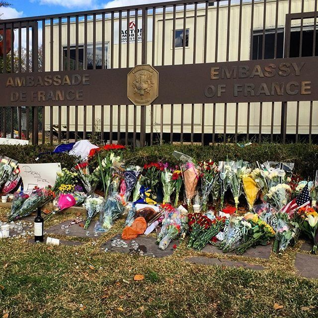 Flowers outside the French Embassy in Washington, D.C., on Saturday, Nov. 14, 2015.