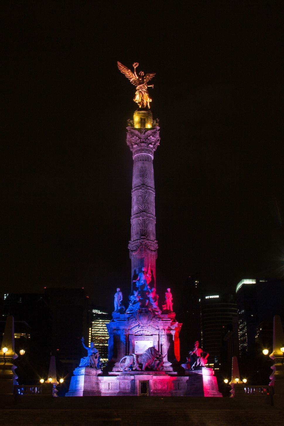 The Angel of Independence is seen with the colors of France in Mexico City, Mexico, Nov. 14, 2015.