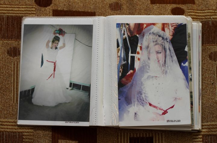 Bassima, a Yazidi woman displaced from Sinjar when ISIS took over, is seenin her wedding photographs.The photos&n