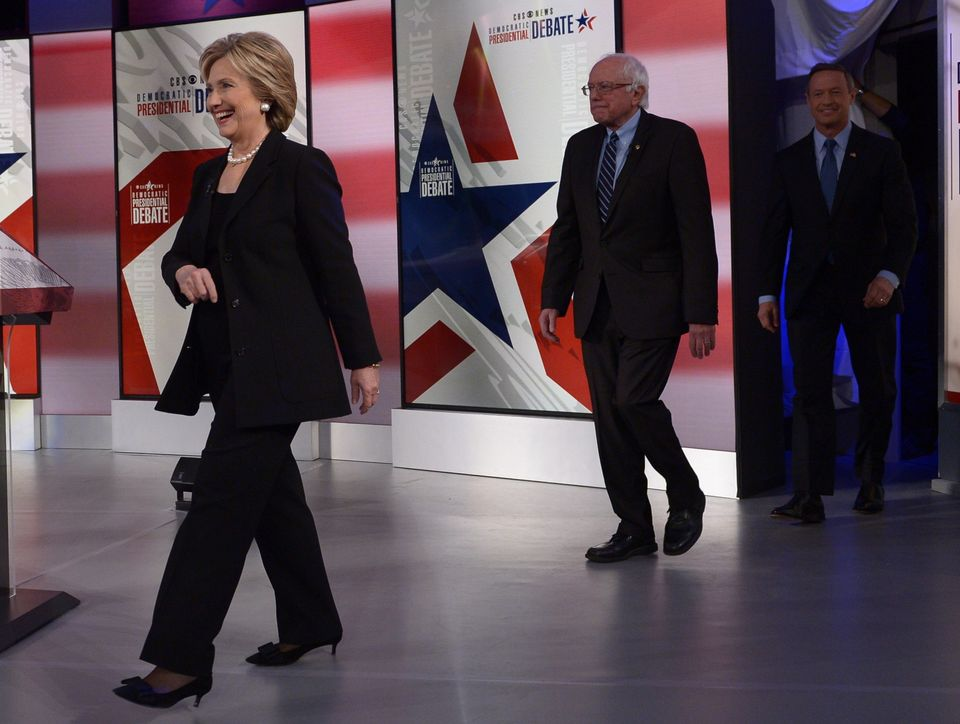 (L-R) Democratic Presidential hopefuls Hillary Clinton, Bernie Sanders, and Martin OMalley arrive for the second Democratic p