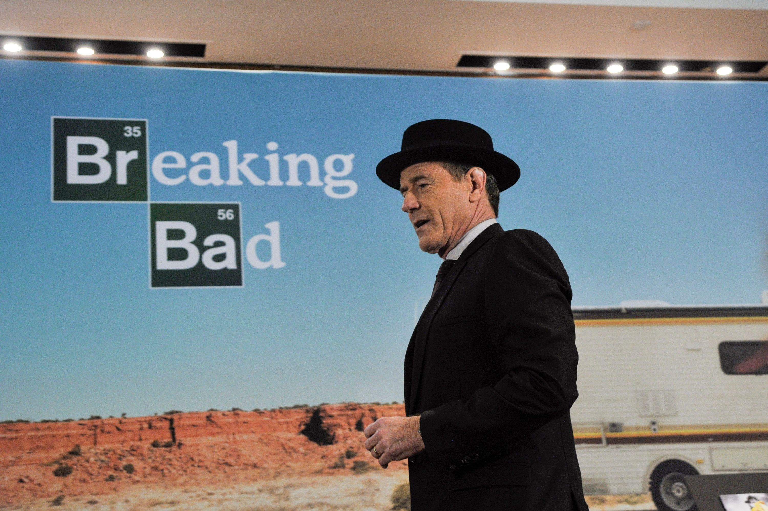 WASHINGTON, DC- NOVEMBER 10: Actor Bryan Cranston speaks with his 'The Heisenberg Hat' on during a donation ceremony of artifacts from AMC's 'Breaking Bad' show at Smithsonian's National Museum of American History  in Washington DC on November 10, 2015.  (Photo by Kris Connor/Getty Images)