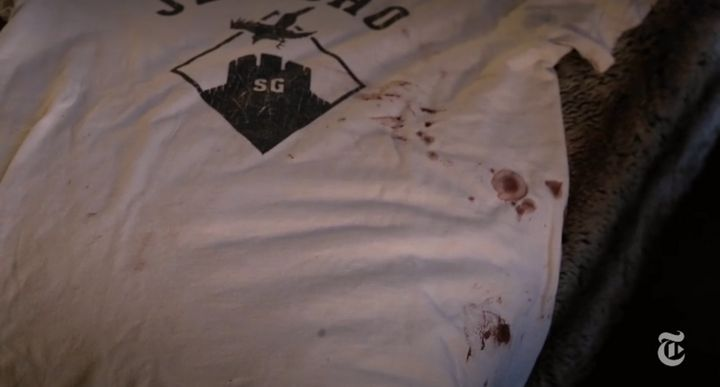 The bloody T-shirt worn by Gauthier during the attacks.