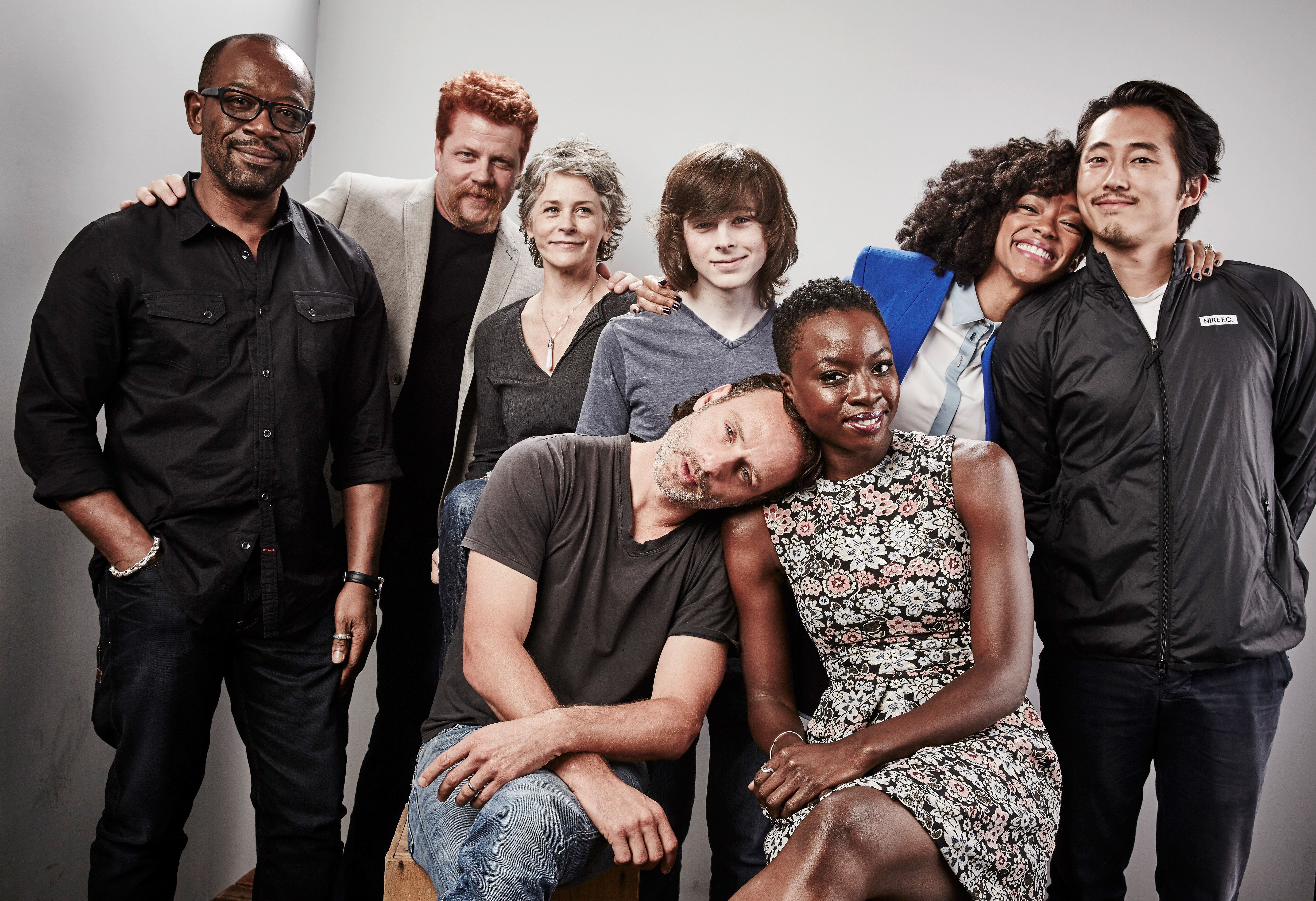 SAN DIEGO, CA - JULY 11:  (L-R) Actors Lennie James, Michael Cudlitz, Melissa McBride, Andrew Lincoln, Chandler Riggs, Danai Gurira, Sonequa Martin-Green, and Steven Yeun of 'The Walking Dead' pose for a portrait at the Getty Images Portrait Studio Powered By Samsung Galaxy At Comic-Con International 2015 at Hard Rock Hotel San Diego on July 11, 2015 in San Diego, California.  (Photo by Maarten de Boer/Getty Images)