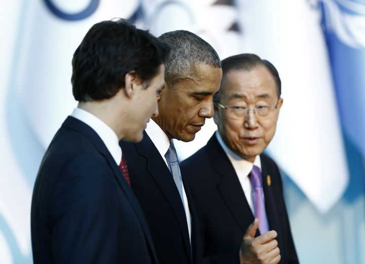 Canadian Prime Minister Justin Trudeau (L), US President Barack Obama (C) and UN Secretary-General Ban Ki-moon are seen befor
