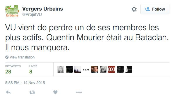 Quentin Mourier, an architect living in Paris, was killed inside the Bataclan. An urban farming initiative he worked wit