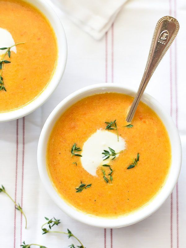 "<strong>Get the <a href=""http://www.foodiecrush.com/ginger-carrot-soup/"" target=""_blank"">Ginger Carrot Soup recipe</a> from F"