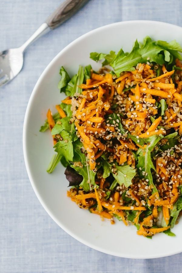 "<strong>Get the <a href=""http://naturallyella.com/ginger-carrot-salad-with-quinoa/"" target=""_blank"">Ginger Carrot Salad with"