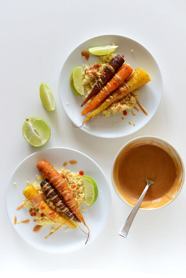"<strong>Get the <a href=""http://minimalistbaker.com/curry-roasted-carrots-with-peanut-sauce/"" target=""_blank"">Curry Roasted C"