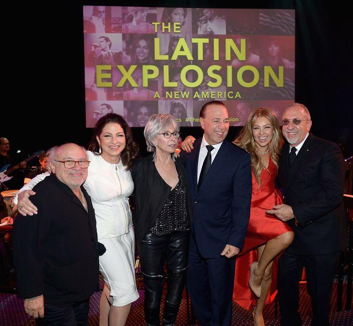 """Danny Devito, Gloria Estefan, Rita Moreno, Tommy Mottola,Thalía and Emilio Estefan attend the """"The Latin Explosion: A New America,"""" premiere on November 10, 2015 in New York City."""
