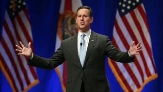 ORLANDO, FL - NOVEMBER 14:  Republican presidential candidate former U.S. Sen. Rick Santorum (R-PA) speaks during the Sunshine Summit conference being held at the Rosen Shingle Creek on November 14, 2015 in Orlando, Florida.  The summit brought Republican presidential candidates in front of the Republican voters.  (Photo by Joe Raedle/Getty Images)