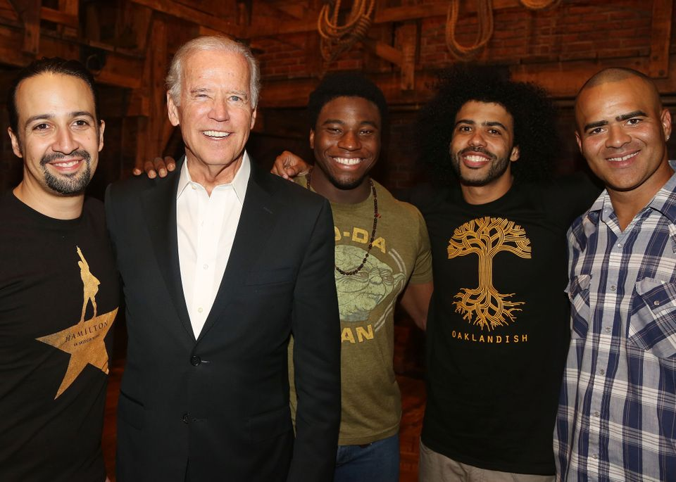 NEW YORK, NY - JULY 27:  (L-R) Lin-Manuel Miranda (plays 'Alexander Hamilton'), Vice President of the United States Joe Biden