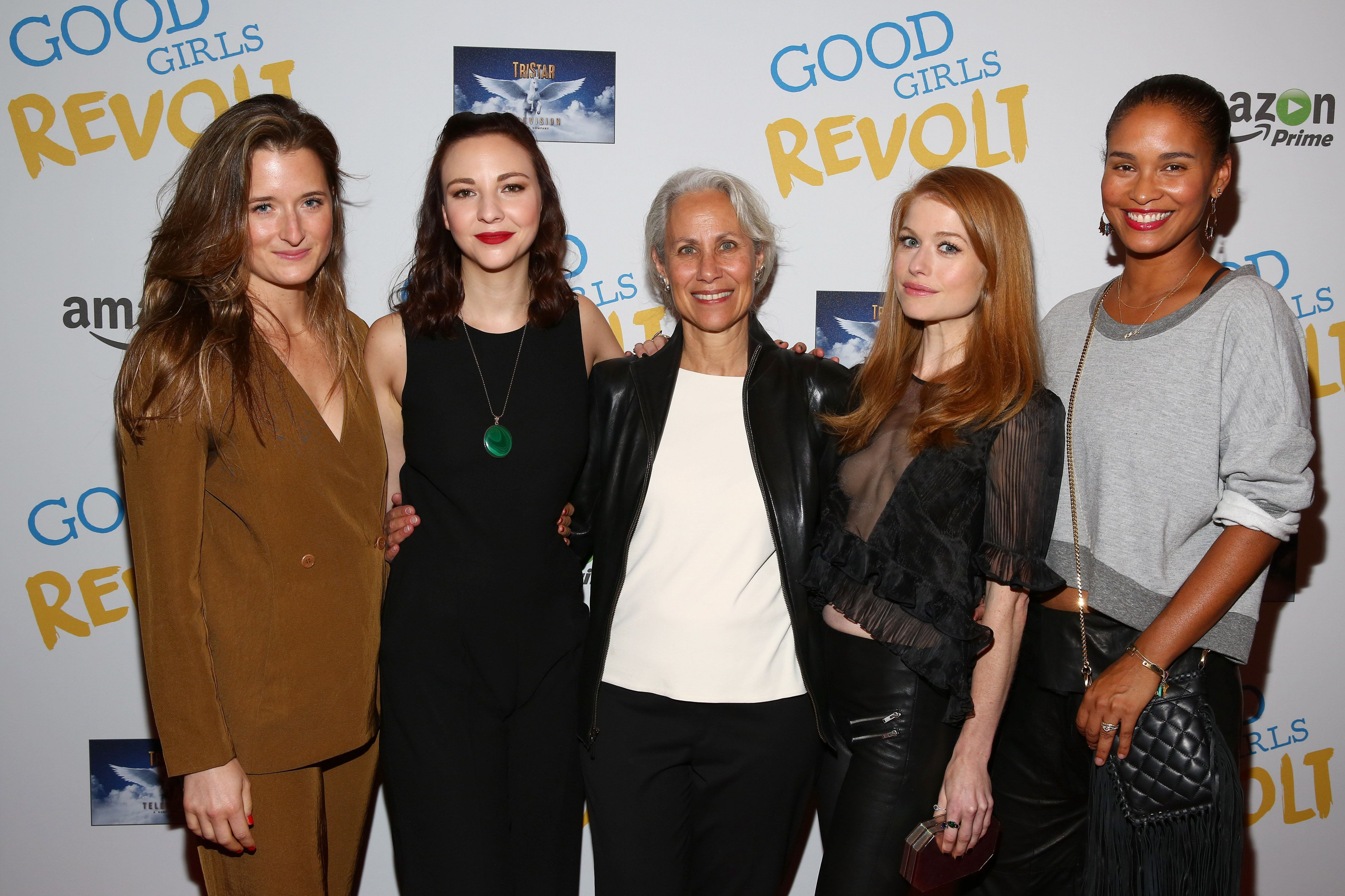 NEW YORK - NOVEMBER 04:  (L-R) Grace Gummer, Erin Darke, author Lynn Povich,Genevieve Angelson, Joy Bryant attend 'Good Girls Revolt' preview night screening, NYC hosted by TriStar Television at Roxy Hotel on November 4, 2015 in New York City.  (Photo by Astrid Stawiarz/Getty Images for Sony)