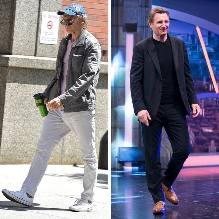 On the left, Neeson in July 2015. On the right, Neeson in April 2015.
