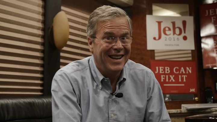 Former Florida Gov. Jeb Bush (R) speaks to The Huffington Post on his campaign bus in New Hampshire.