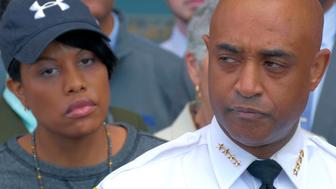 Civic leaders stand behind Baltimore Mayor Stephanie Rawlings-Blake, left, and Baltimore Police Commissioner Anthony Batts who address the media following an uprising that resulted in numerous injuries, arrests and fires on April 28, 2015 in Baltimore, Md. (Karl Merton Ferron/Baltimore Sun/TNS via Getty Images)