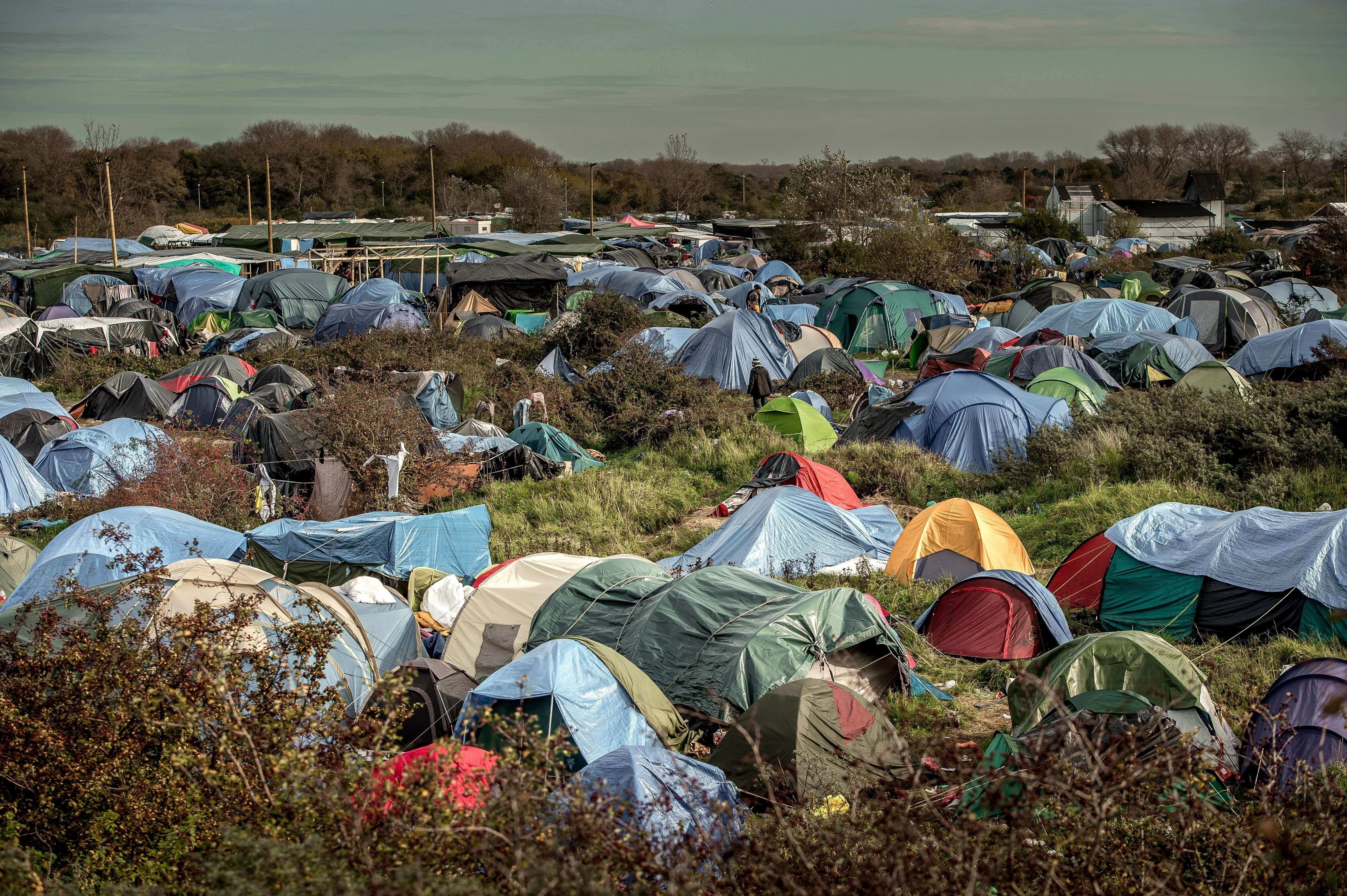 """A photo taken on Nov. 5, 2015 shows the """"Jungle"""" migrants camp in Calais."""