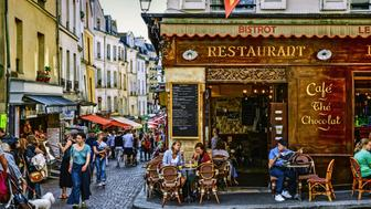 Shops and bistrots in Mouffetard Street, Paris, France.