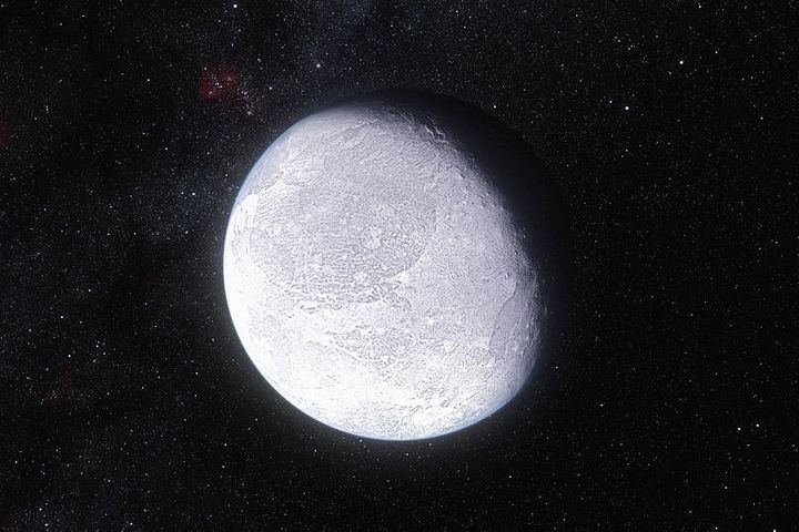 An artist's impression showingthe dwarf planet Eris, whichwas previously recognized as the solar system's most di