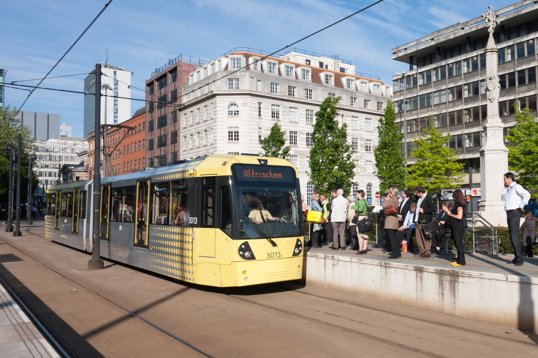 Metrolink station at St Annes square in Manchester City centre. A busy station on this tram route.