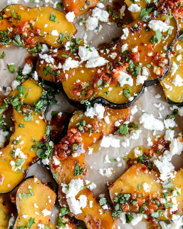 """<strong>Get the <a href=""""http://www.howsweeteats.com/2014/10/spicy-roasted-squash-with-feta-and-herbs/"""" target=""""_blank"""">Spicy"""