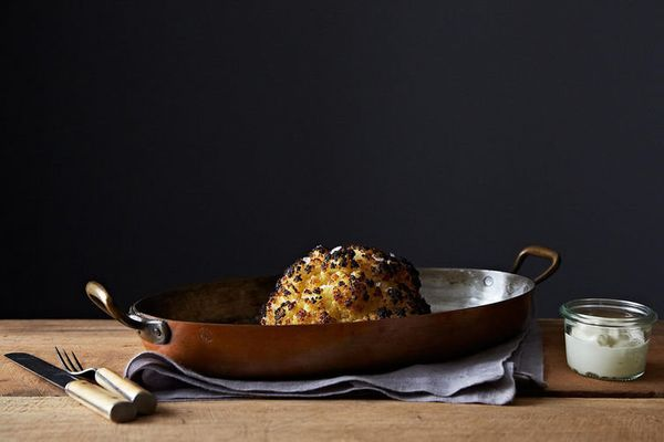 """<strong>Get <a href=""""http://food52.com/recipes/24387-alon-shaya-s-whole-roasted-cauliflower-and-whipped-goat-cheese"""" target="""""""