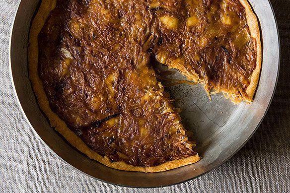 """<strong>Get the <a href=""""http://food52.com/recipes/10177-french-onion-tart"""" target=""""_blank"""">French Onion Tart recipe</a> from"""