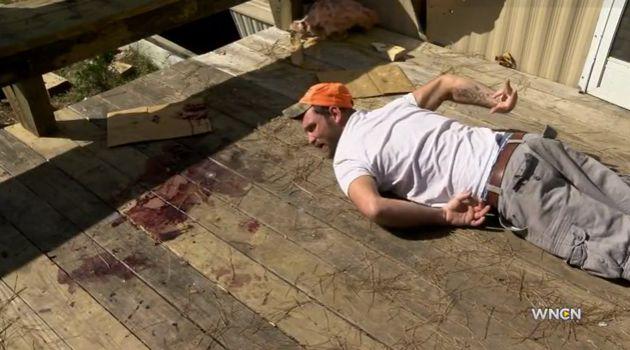 Clayton Carroll re-enacts John Livingston's death for WNCN.