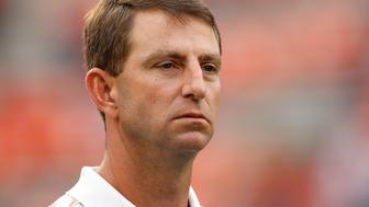 CLEMSON, SC - SEPTEMBER 27: Head Coach Dabo Swinney of the Clemson Tigers looks on prior to the game against the North Carolina Tar Heels at Memorial Stadium on September 27, 2014 in Clemson, South Carolina. (Photo by Tyler Smith/Getty Images)