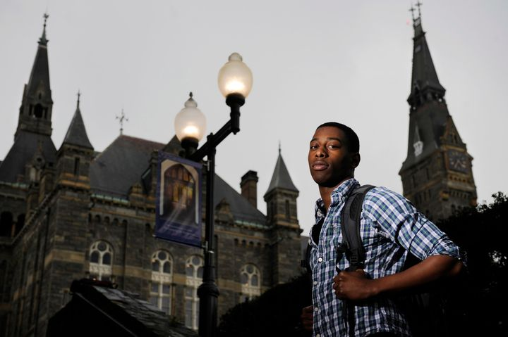 Georgetown University freshman, Darryl Robinson, 19, poses for a photograph on campus on Wednesday March 28, 2012 in Washingt