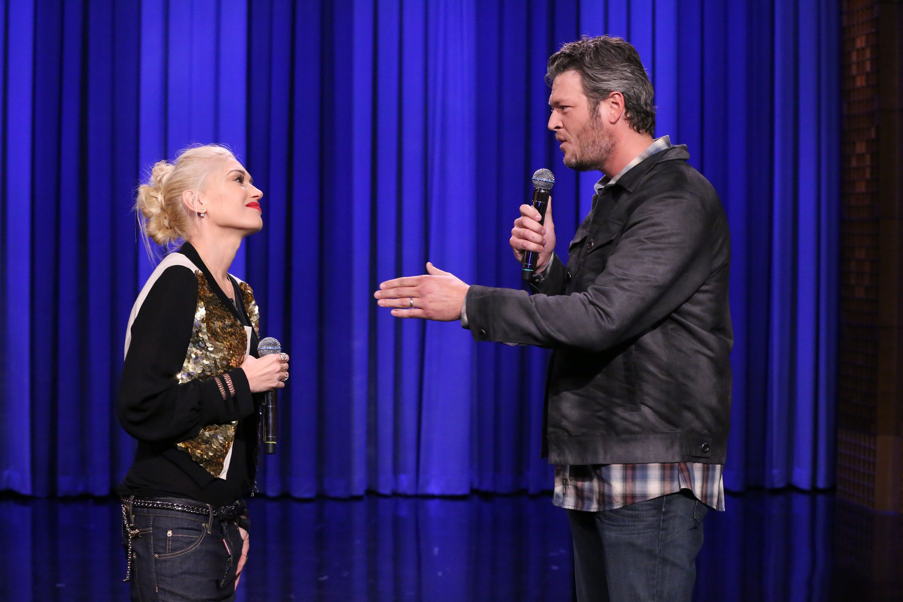 THE TONIGHT SHOW STARRING JIMMY FALLON -- Episode 0126 -- Pictured: (l-r) Singer Gwen Stefani and singer Blake Shelton during a lip synch battle on September 17, 2014 -- (Photo by: Douglas Gorenstein/NBC/NBCU Photo Bank via Getty Images)