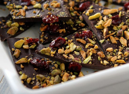 "<strong>Get the <a href=""http://withstyleandgraceblog.com/2011/12/13/dark-chocolate-bark-with-pistachios-and-sea-salt/"">Dark"