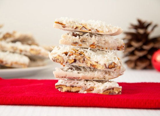 "<strong>Get the <a href=""http://www.healthfulpursuit.com/2011/12/sugar-free-coconut-almond-bark/"">Coconut Almond Bark recipe<"