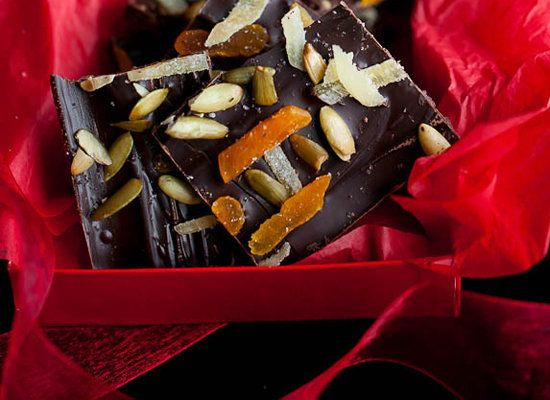 "<strong>Get the <a href=""http://gourmandeinthekitchen.com/2011/dark-chocolate-bark-with-ginger-pumpkin-seeds-and-apricots-rec"