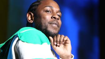 INGLEWOOD, CA - NOVEMBER 08:  Artist Kendrick Lamar performed at the REAL 92.3's 'The Real Show' at The Forum on November 8, 2015 in Inglewood, California.  (Photo by Leon Bennett/WireImage)