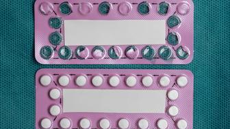 Medicine health care contraception and birth control. Oral contraceptive pills new and empty blister