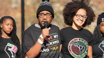 COLUMBIA, MO - NOVEMBER 9: Jonathan Butler (c), a University of Missouri grad student who did a 7 day hunger strike addresses students on the campus of University of Missouri - Columbia on November 9, 2015 in Columbia, Missouri. Students celebrate the resignation of University of Missouri System President Tim Wolfe amid allegations of racism. (Photo by Michael B. Thomas/Getty Images)