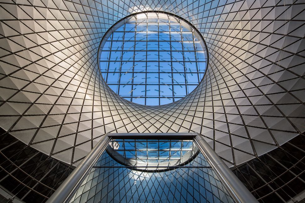 Located in New York City, the Fulton Center is a transportation hub meant to service 300,000 passengers per day.